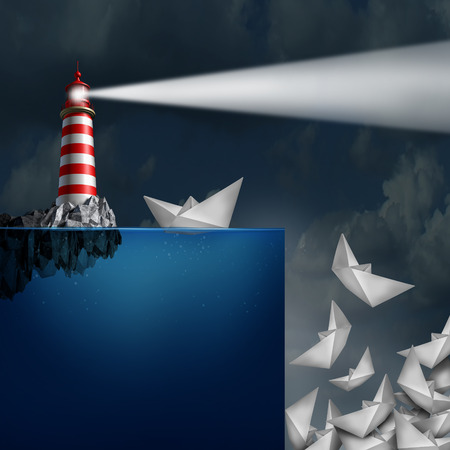 Bad advice concept as a lighthouse with a light beacon falsly guiding paper ships off a cliff as a metaphor for incompetent or fraudulent financial consultation.