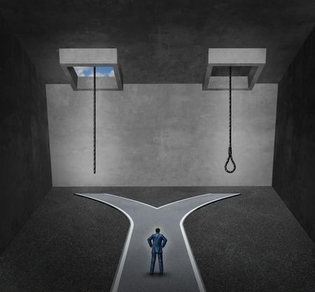 depresi�n: Concepto de suicidio como una persona que se enfrenta a un dilema psicol�gico dif�cil entre una cuerda con una soga o una l�nea de vida como una met�fora de un trastorno sufrimiento mental debido a la depresi�n o el desequilibrio qu�mico.