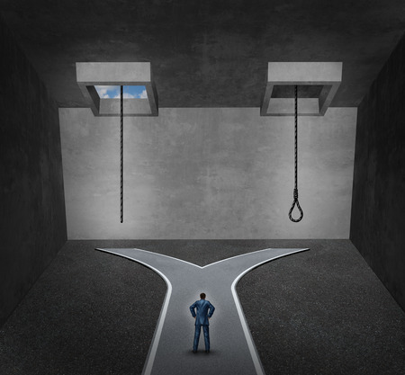 life line: Suicide concept as a person facing a difficult psychological dilemma between a rope with a noose or a life line as a metaphor for a mental disorder suffering due to depression or chemical imbalance. Stock Photo