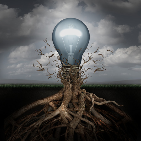 origin: Concept of creativity and the rise of ideas as a light bulb emerging out from underground roots breaking free from confining branches as a success metaphor.