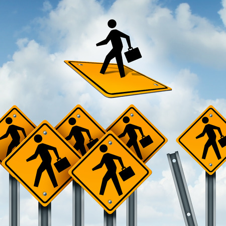 Concepto del ganador y líder de la competencia empresarial como un grupo de señales de tráfico con los trabajadores y un ambicioso individuo liberarse y despegando como una metáfora de liderazgo.