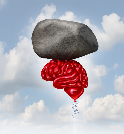 creative strength: Brain power concept as a red balloon shaped as a human thinking organ lifting up a heavy rock as a symbol and mental health metaphor for powerful creatve intelligence and memory. Stock Photo