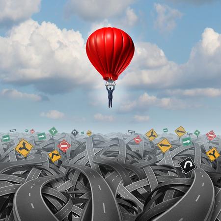 Gemakkelijke weg vooruit stijging boven verwarring leiderschap concept met een zakenman in een ballon vliegen en stijgende over een ingewikkelde groep van wegen als een zakelijke metafoor van innovatief creatief denken voor succes.