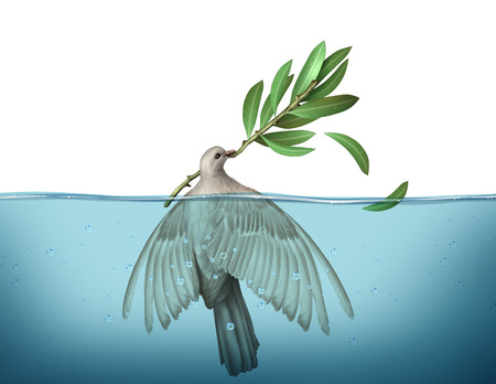 tribalism: Diplomatic crisis concept as a peace dove drowning in water trying to hold on to an olive branch as an urgency symbol for failed diplomacy to negotiate an end to war. Stock Photo