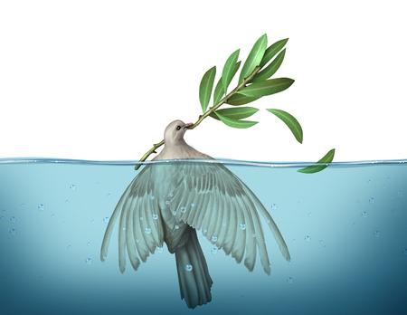 Diplomatieke crisis concept als een vredesduif verdrinken in water proberen vast te houden aan een olijftak als een urgentie symbool voor mislukte diplomatie om een eind aan de oorlog te onderhandelen. Stockfoto