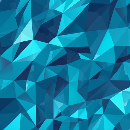 three dimensional shape: Geometric triangle wall background as a blue abstract crystal pattern of three dimensional shapes.
