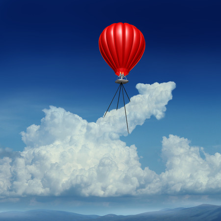 spiritual growth: Aim high business success concept as a red hot air balloon lifting up a cumulus cloud shaped as an arrow metaphor for acheivemrent planning andstrategy.
