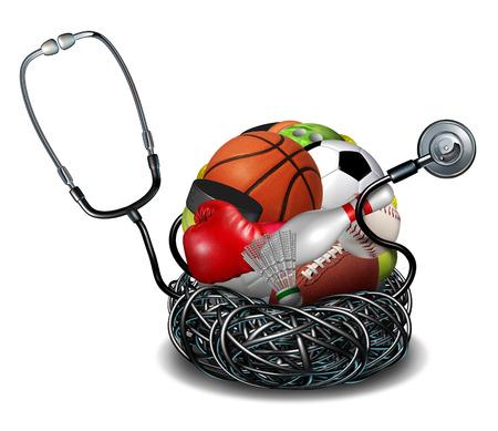 simbolo medicina: Concepto de la medicina deportiva y atlética símbolo atención médica como un estetoscopio médico enredada alrededor de un grupo de iconos de equipo de deporte de baloncesto del fútbol del fútbol y el béisbol.