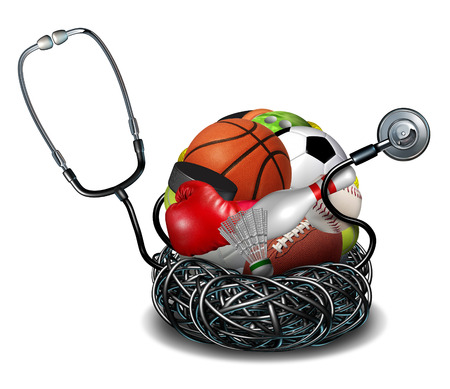 Sports medicine concept and athletic medical care symbol as a doctor stethoscope tangled around a group of sport equipment icons for soccer football basketball and baseball. Archivio Fotografico