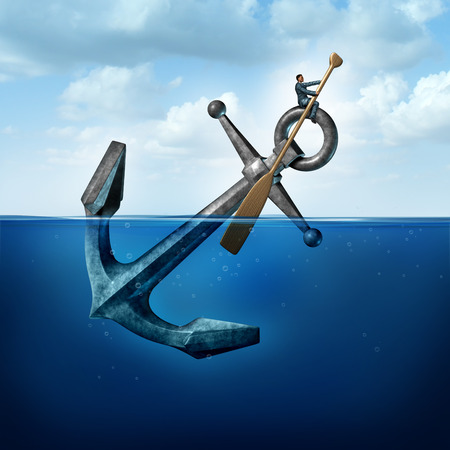 Positive thinking and resilience business concept with a person on a floating anchor rowing with a paddle as a symbol of moving forward despite restrictions and challenges. Stockfoto