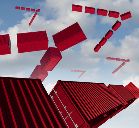 air freight: Cargo air shipping concept as a group of red transport containers organized in the shape of a bird flock migrating to exporting or importing to new markets as an icon for distribution of goods management.