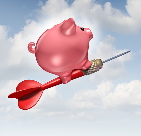 financial symbols: Budget goal and financial advice business concept as a piggybank character riding a red dart as a financial success symbol for managing finances and savings. Stock Photo