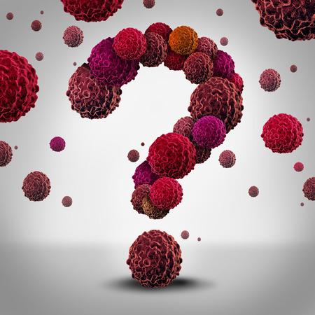 물음표 확산과 진단 및 치료에 대한 의료 정보에 대한 상징으로 인간의 몸에 악성 성장으로 성장 모양 암 세포로 암 질문 개념. 스톡 콘텐츠