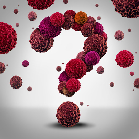 Cancer questions concept as cancerous cells shaped as a question mark spreading and growing as malignant growth in a human body as a symbol for medical information on diagnosis and therapy.