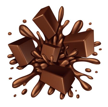 Chocolade splash vloeistof met stukjes smelten snoep exploderende met een explosie van druipend zoete bruine siroop geïsoleerd op een witte achtergrond als voedselingrediënt elementensymbool.
