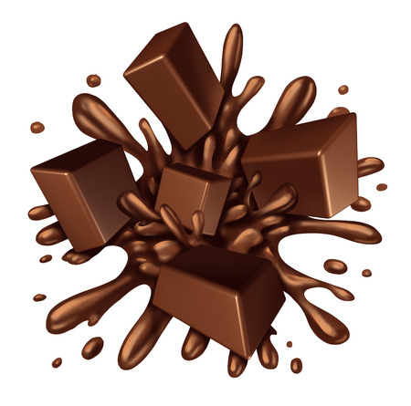 Chocolate splash liquid with chunks of melting candy exploding with a blast of dripping sweet brown syrup isolated on a white background as a food ingredient element symbol.