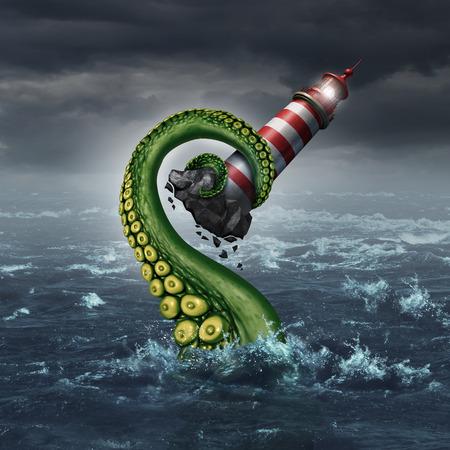 戦略問題と指導の危険性リスクとトラブルの計画のための隠喩としてタロウ海モンスターの触手アームによって海から裂かれている光の家のビーコ