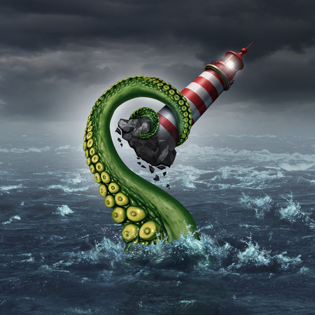 danger: Strategy problem and guidance hazard as a light house beacon being ripped out of the ocean by a dangerouse sea monster tentacle arm as a metaphor for risk and trouble planning.