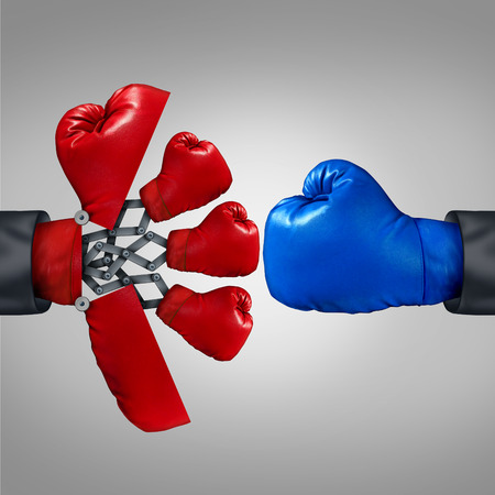 competitiveness: Strategy advantage and business competitiveness concept as a red boxing glove opening up to a secret weapon to reveal multiple team members to compete with another rival. Stock Photo