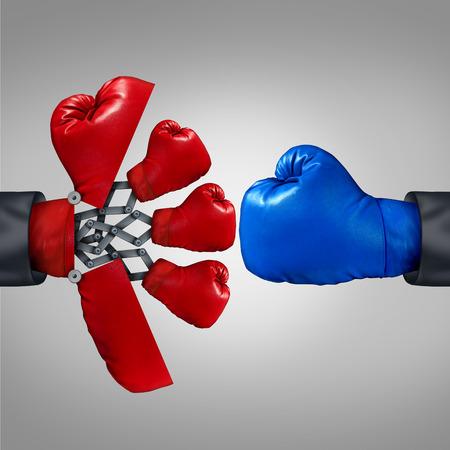 competitividad: Ventaja Estrategia y concepto de la competitividad empresarial como una apertura roja guante de boxeo hasta un arma secreta para revelar varios miembros del equipo para competir con otro rival.