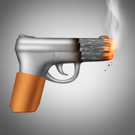 Smoking Cigarette concept as a tobacco product shaped as a lethal handgun or pistol as a health care metaphor and unhealthy symbol for the danger of smoke carcinogens.