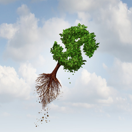 Money Flight business concept as a flying tree with uprooted roots shaped as a dollar sign as a symbol for financial exports and investing in new markets. Stok Fotoğraf