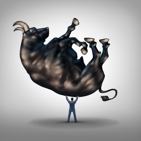 Investing solutions and financial leadership symbol and business success concept as a take charge businessman lifting a giant bull as an icon of a leader with taking control of wealth management. Stock Photo
