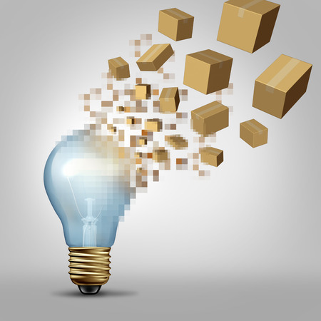 visualizing: Idea to reality as a light bulb being digitally pixelated and the coded fragments transforming into packaged boxes of product as a business symbol for successful vision and visualizing goals.