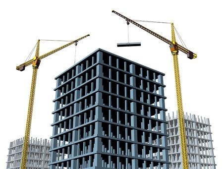 commercial real estate: Edificio sitio de construcci�n con una estructura de hormig�n en el proceso de ser construido como una estructura comercial de bienes ra�ces y un s�mbolo del negocio de crecimiento econ�mico y financiero y la econom�a saludable.