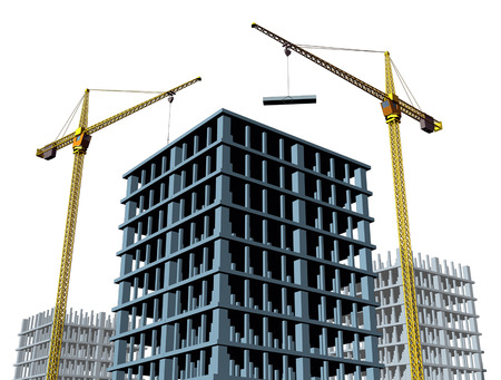 commercial real estate: High rise contruction site with a concrete structure in the process of being built as a commercial real estate structure and a business symbol of economic and financial growth and healthy economy.
