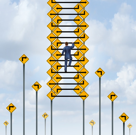 corporate ladder: Success ladder concept and career climb symbol as a businessman climbing a group of arrow lines from traffic signs.