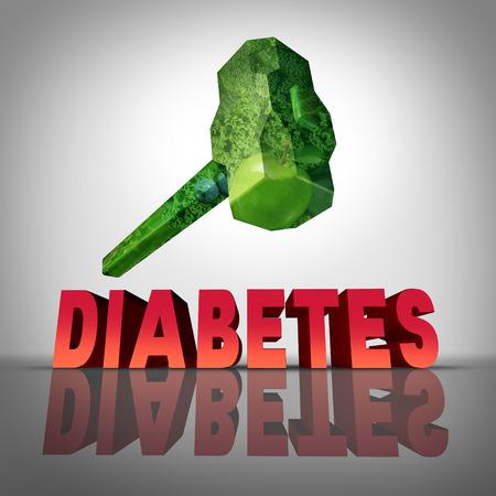 diabetes: Vencer la batalla contra la diabetes concepto de tratamiento natural como un martillo hecho de frutas y verdura sanas destruyendo la enfermedad diab�tica como s�mbolo de la dieta medicinal y diagn�stico del estado de az�car en la sangre. Foto de archivo