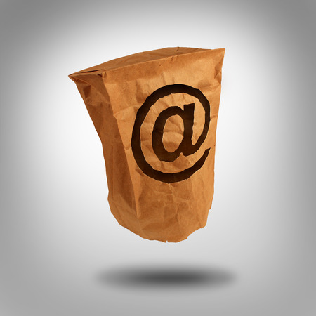 web presence internet presence: Digital identity and private or anonymous social network user on the internet as a brown paper bag with a hole shaped as the email symbol with an ampersand icon.