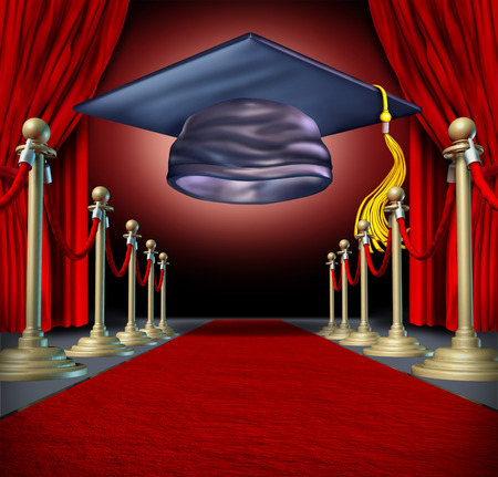 Graduation ceremony and celebration concept as a mortar board on a theatre stage on a red carpet as an education symbol of university or school completion. photo