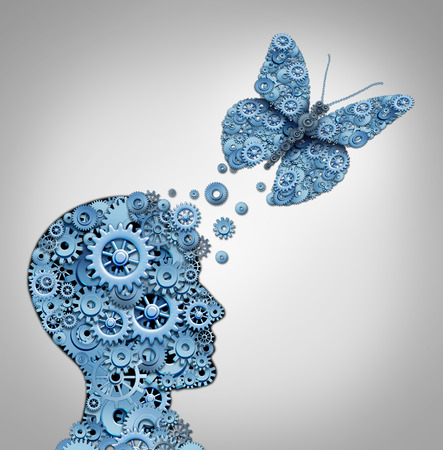 brain and thinking: Human thinking and artificial intelligence concept as a technology symbol for a robot head and butterfly shaped with gears and machine cog wheels. Stock Photo