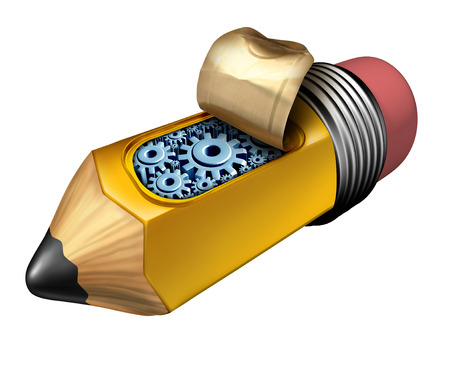 technology metaphor: Inside creativity business innovation concept as a pencil with an opening revealing gears and cog wheels under the hood as a technology metaphor object.