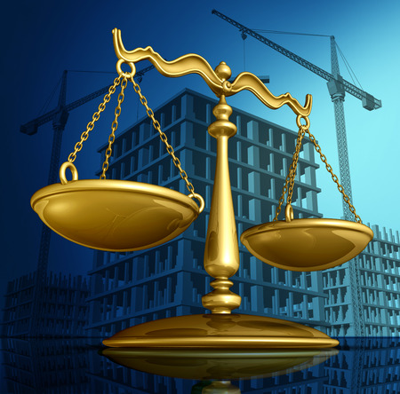 litigation: Construction law concept as a justice scale over a working building site with cranes and a structure being built as a concept for architecture permits and real estate regulations.