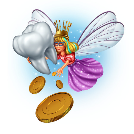 Tooth fairy character as a mythical and magical princess wearing a golden tooth brush crown from a childhood fairytale holding a human molar tooth and giving money coins as a reward.