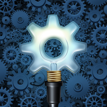 company innovation: Light bulb with gears business concept as a light shaped as a cog wheel with machine parts in the background as a symbol of industry imagination and innovation.