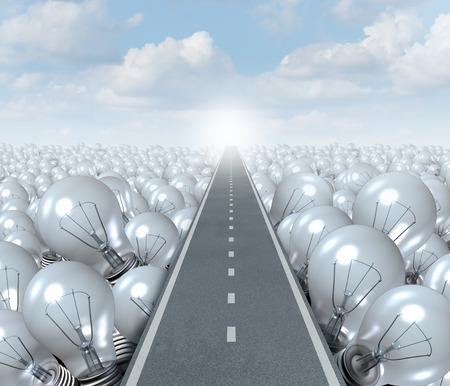 kavram: Fikir yol ve yenilik başarı ve beyin fırtınası çözümü için bir sembol ve metafor olarak ampuller bir manzara ile kesme bir cadde veya karayolu gibi yaratıcı Path iş kavramı.