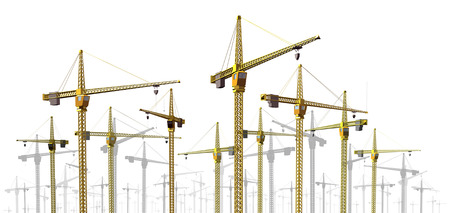 commercial equipment: Cranes at construction site border design element as a development and economic growth symbol with a group of commercial industrial building equipment on a white background. Stock Photo