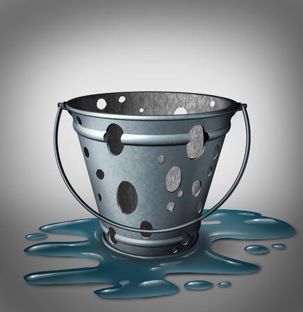 seau d eau: probl�mes d'�quipement et d�faut de conception concept de l'�chec comme une vide inefficace, m�tal p�le avec des trous et de l'eau d�vers�s sur le sol comme une m�taphore pour les d�fauts du produit et la strat�gie a �chou�.