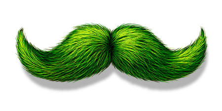 Green moustache or mustache on a white background with a shadow as a symbol for spring and nature or saint patricks day celebration or a vegetarian design element. Stock Photo