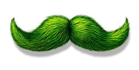 Groene snor of snor op een witte achtergrond met een schaduw als een symbool voor de lente en de natuur of de dag van heilige patricks feest of een vegetarisch design element.