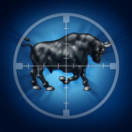bullish: Bull target di mercato come mirino per l'aumento dei prezzi dei titoli, come un animale cornuto a fuoco che rappresenta una bullish trend di crescita economica e finanziaria.