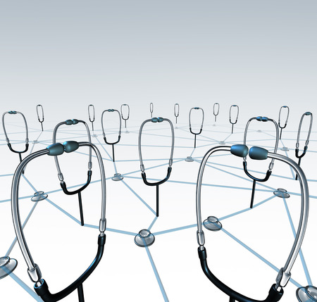 Doctor network and medical records exchange concept as a group of connected physician stethoscopes sharing data through a virtual health care networking system.
