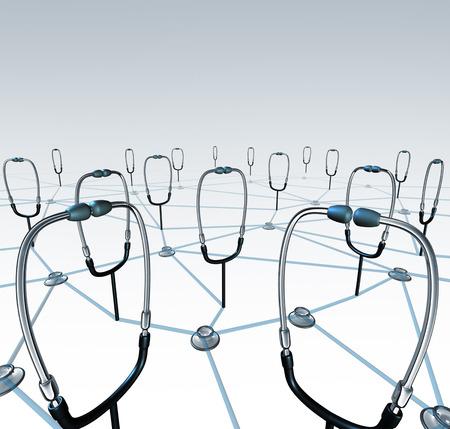 doctores: Red Doctor y registros médicos concepto de cambio como un grupo de médico conectado estetoscopios compartir datos a través de un sistema de redes de atención médica virtual.