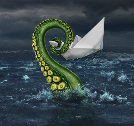 촉수: Business trouble and financial trap concept as an origami paper boat in a stormy sea being trapped by a monster tentacle squeezing the victim as a metaphor for career and entrpreneur risk.