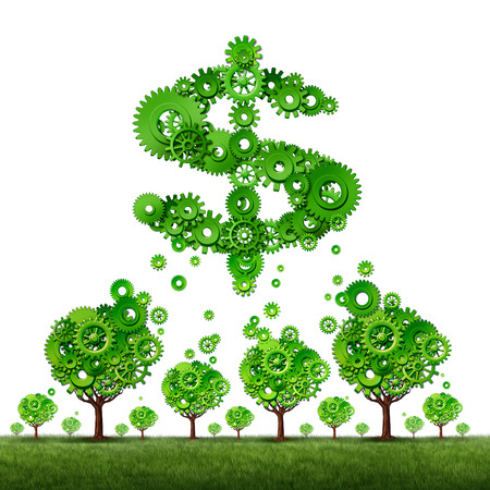 contributing: crowdfunding investing and collective income concept as a group of green trees made of gears contributing to a dollar sign symbol shaped with cog wheels as a crowd funding idea. Stock Photo
