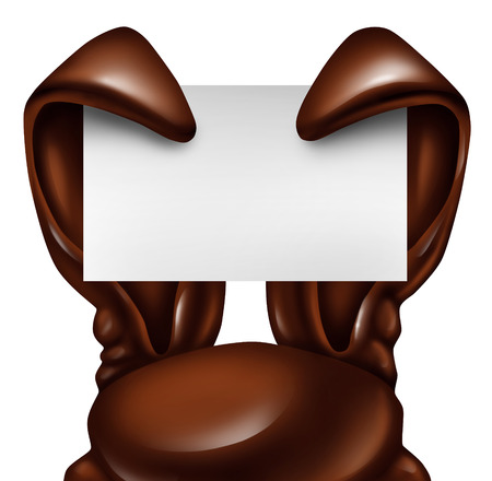 spring message: Easter chocolate rabbit sign as sweet confectionary ears holding a blank banner card as a fun spring symbol of holiday celebration as an advertising message on a white background.